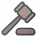 auction, hammer, judge, justice, law, lawyer icon