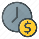 cash, clock, money, time, value icon
