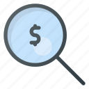 career, glass, job, magnifying, money, search icon