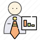 business, businessman, graph, office, statistic icon