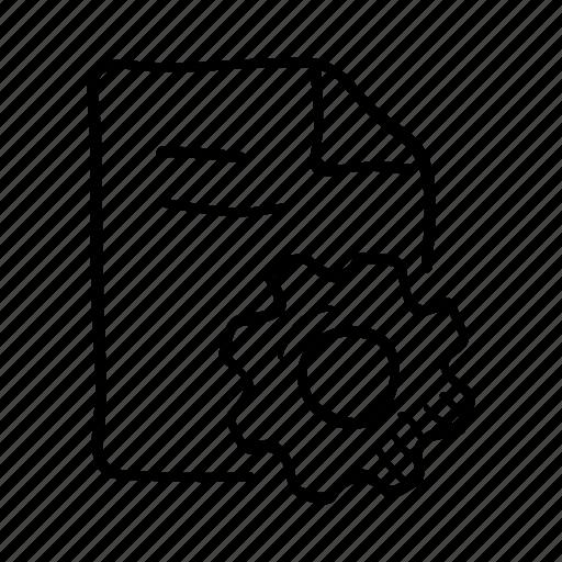 development, document, gear, optimization, planning, project, settings icon