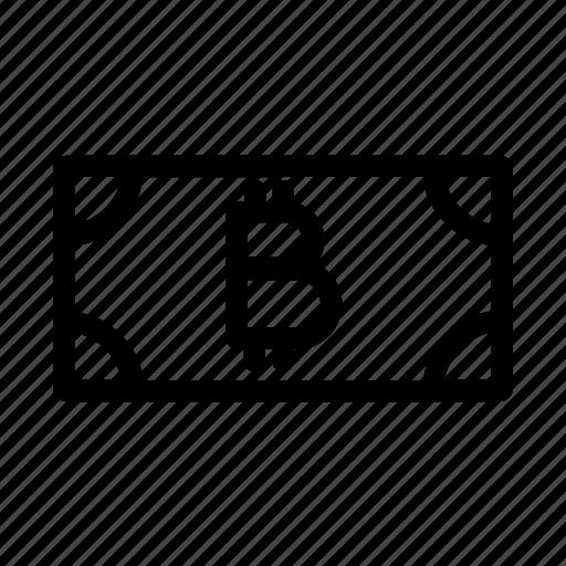 bill, bitcoin, cash, finance, money, note icon