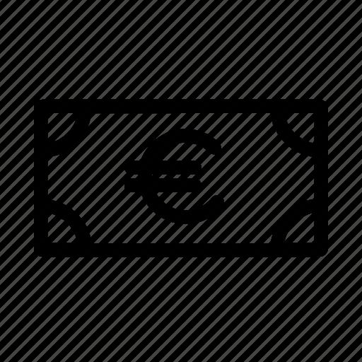 bill, cash, euro, finance, money, note icon