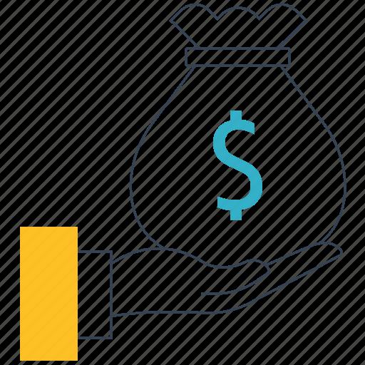 coin, dollar symbol, hand, money, moneybag, savings icon