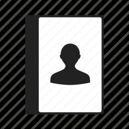 account, book, man, people, person, profile, user icon