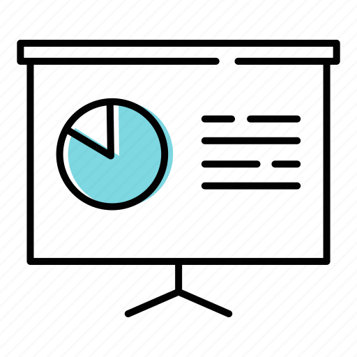 business report, pie chart, sales icon