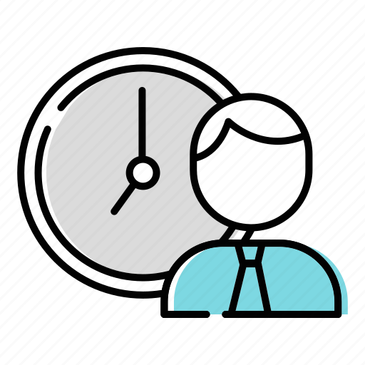 businessman, clock, time management icon