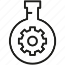 experiment, flask, gear, research, testing icon icon