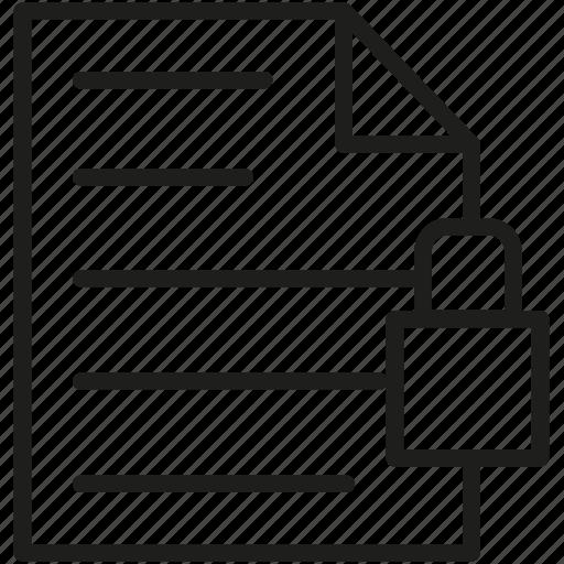 document, file, lock, paper, text icon icon