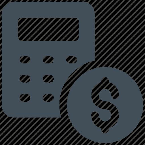 accounting, budget, calculation, calculator, dollar icon icon