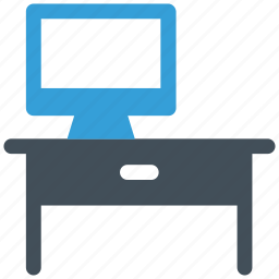computer, desk, furniture, interior, office, table, work icon icon