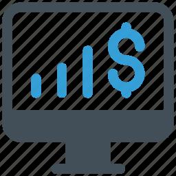 chart, dollar, finance, lcd, money chart lcd icon icon