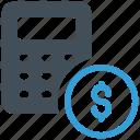 calculation, accounting, calculator, budget, dollar icon icon