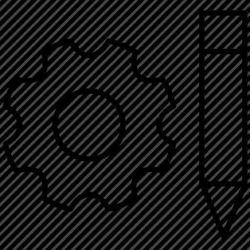 business, development, engineering, gear, pen icon icon