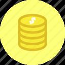 cash, coins, dollar, money, us dollar icon