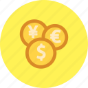 cash, currency, dollar, euro, money, yen icon