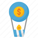 air, balloon, business, money icon