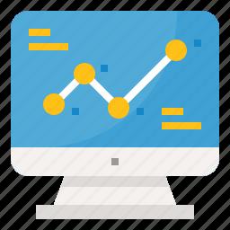 chart, computer, line, presentation, strategy icon