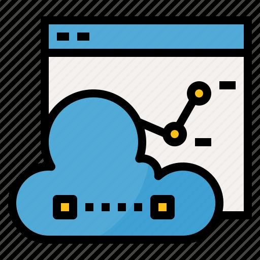 analysis, chart, cloud, computing, data, network, report icon