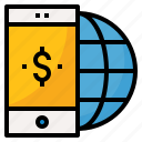 app, global, mobile, money, phone icon