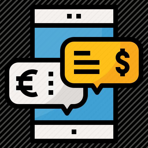 chat, finance, message, money, phone, talk icon