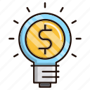 bulb, business, finance, idea, light icon