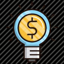 bulb, business, finance, idea, light icon