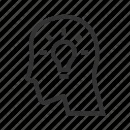 creative, head, idea, insight, lamp, light, mind icon