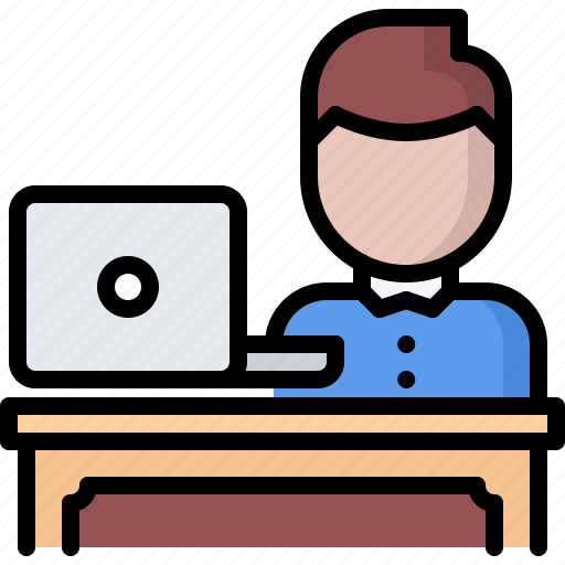 business, corporation, employee, job, laptop, office, workplace icon