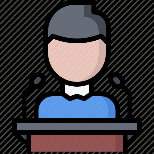 business, corporation, job, microphone, office, presentation, speech icon