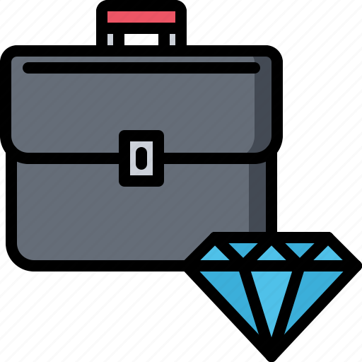 brilliant, business, case, diamond, job, office, portfolio icon