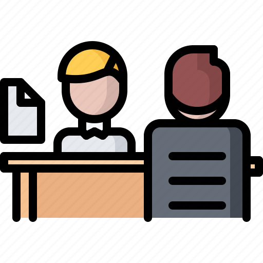business, employee, interview, job, office, table icon