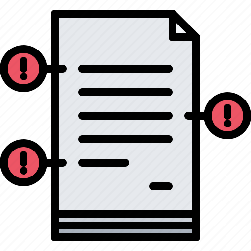 business, corporation, document, error, job, mistake, office icon