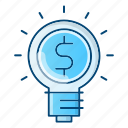 bulb, business, idea, money icon