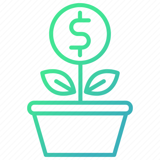 business, green, growth, investments, plant icon