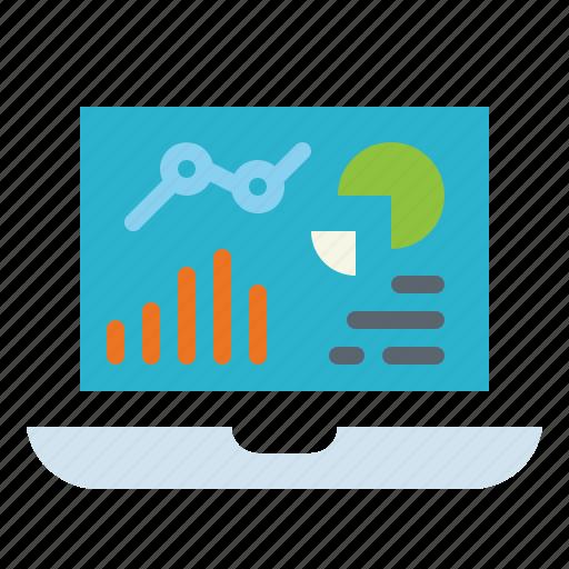 analytics, devices, graphic, laptop, statistics icon