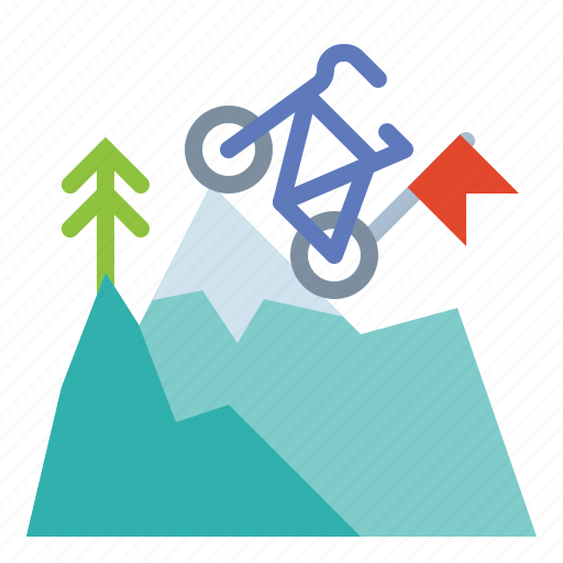 achievement, flag, leader, mountains, success icon