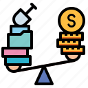 balance, justice, law, profit, scale icon