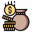 cash, coins, currency, money, stack icon