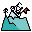 achievement, flag, leader, mountains, success icon