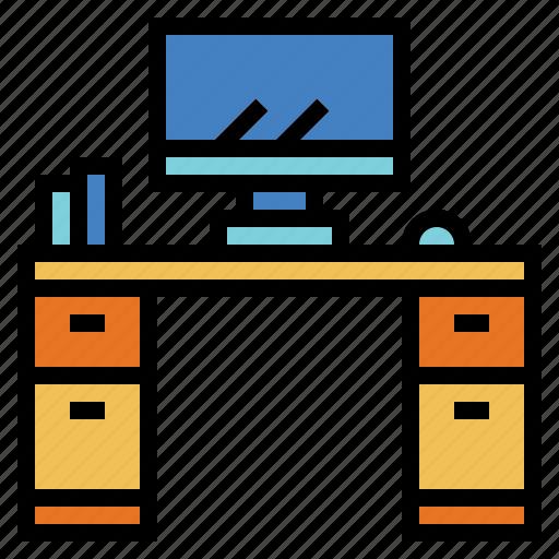 computer, desk, furniture, office icon