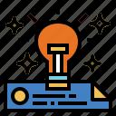 bulb, idea, invention, light, technology icon