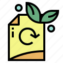 document, green, paper, recycle icon