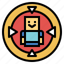aim, human, target, weapons icon