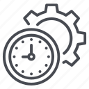 clock, gear, setting, time, time management icon