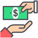 dollar, give money, hand, pay icon
