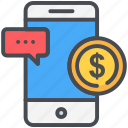 money, online, phone, transfer icon