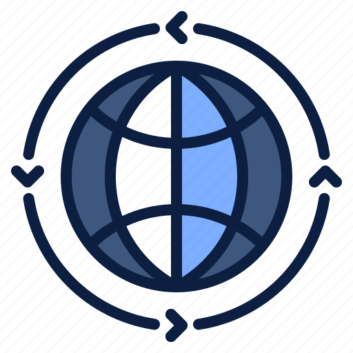business, globalization, globe, movement, world icon