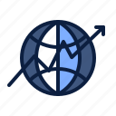arrow, business, growing, growth, up, world icon