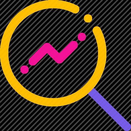 analytics, explore, find, magnifier icon